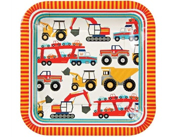 Big Rig Paper Plates - Construction party boys childrens birthday
