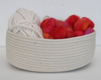 Handmade Oval Cotton Basket in Natural - Little size