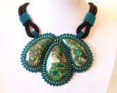 Statement Beadwork Bead Embroidery Pendant Necklace - EMERALD DAY - Green Sea Sediment Jasper and Pyrite - emerald, apple green, black
