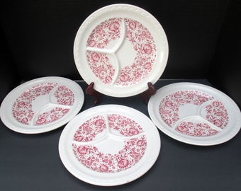 Syracuse China Restaurant Ware - Roxbury Red Pattern Diner Ware - Set of 4 Grill Compartment Plates - 1950s