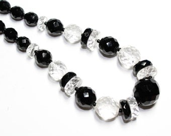 Art Deco Black Clear Crystal Faceted Glass Beads Single Strand Vintage Necklace (c1930s) - Wedding