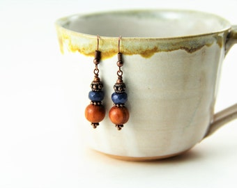 Navy Blue Jade and Wood Beaded Copper Earrings