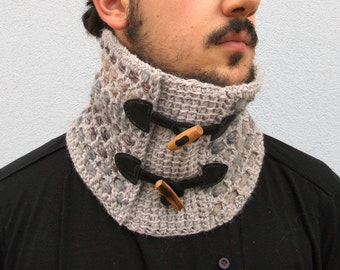 Crochet Grey Neck Warmer Neckwarmer for Man neck wrap Scarf with toggles Winter accessories man woman