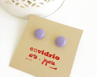 Earrings Studs. Purple Fused Glass Earrings Studs