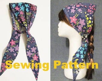 instant download summer sun woven fabric headband sewing pattern pdf, tie back head covering, pleated hair scarf, elastic in back bandana