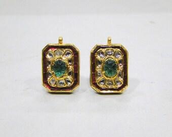 Vintage antique enamel work 20K Gold Diamond polki,emerald and ruby stud earring