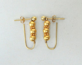 Vintage Antique 22 K Gold Beads Earring Pair Rajasthan India