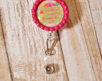 Take Life with a Grain of Salt Wedge of Lime & Shot of Tequila Bottlecap Retractable ID Holder