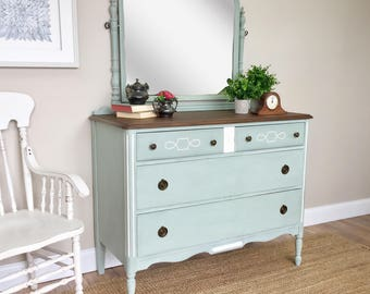 Farmhouse Dresser - Country Cottage Furniture - Solid Wood Dresser - Dresser with Mirror - Vintage Bedroom Furniture - Beach Cottage