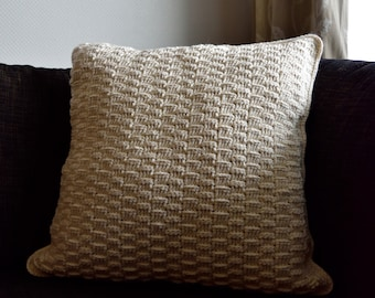 Basketweave throw pillow case - Offwhite - Size 45*45 cm - Handmade