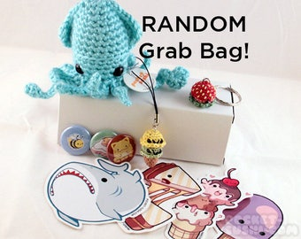 ULTIMATE Grab Bag - a random selection of cute & kawaii handmade plushies, charms, buttons, and stickers!