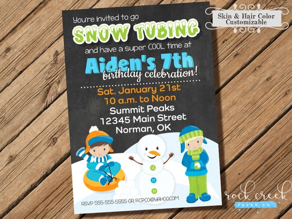 Snow Tubing Birthday Party Invitation Sledding Birthday Party Snow