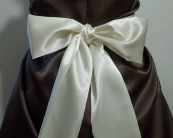 """WHITE CHAMPAGNE Bridal Sash Satin Sash Choose your length from 100"""" up to 110"""""""