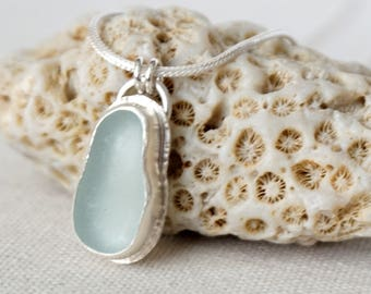 Soft Aqua Blue Sea Glass Pendant - Natural Sea Glass, Genuine Sea Glass - Sea Glass Necklace, Sea Glass Jewelry