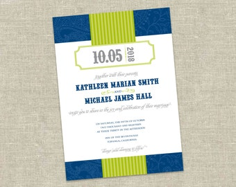 "Playful Vintage-Style Wedding Invitation Printable - ""Kathleen"""