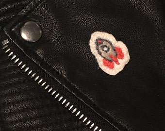 Hand Embroidered Rocketship Patch Style Pin Badge