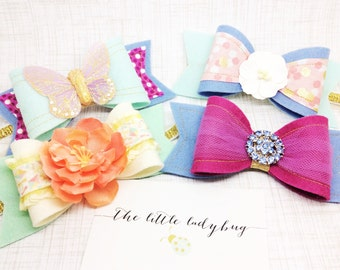 Pack of 4 M2M Made to Match Matilda Jane The Adventure Begins Felt Bow Headbands or Clips