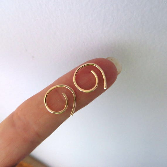 Small Gold Hoop Earring, Small Coil, Tiny Spiral hand formed, Gold Filled, Cartilage Sleeper