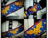 Wonder Woman: Red White Yellow and Blue Wonder Woman Themed Dog Collar with Red Nylon Base