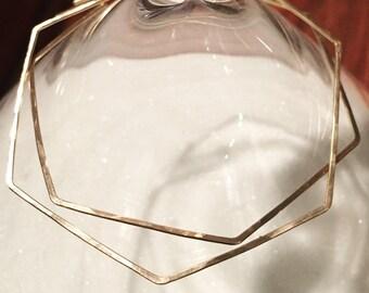 """Large Geometric Gold Hoop Earrings - Thin Boho Gold Hoops - Hammered Gold Filled or Sterling Silver Hoops - 2"""" Big Hoops - Skinny Hoops"""