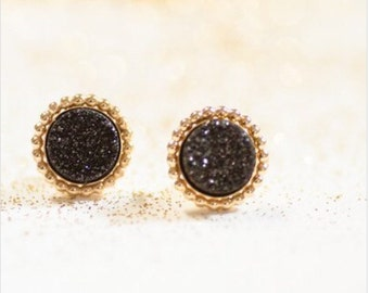 Gold Black Druzy Studs, Black Druzy Earrings, Black Druzy Studs, Black Glitter Everyday Earrings. Black and gold