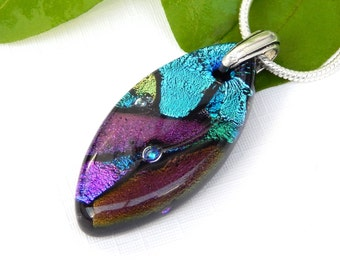 Multicolor Dichroic Glass Pendant, Fused Glass Jewelry, Mixed Dichroic Art Glass Oval Necklace