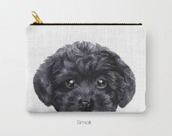 Black Toy poodle, Pouch original Dog illustration design, print on both sides, carry pouch