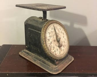 Antique Columbia Family Scale Kitchen Scale 24 Lbs Black Nice Example With Stencil Branding & Litho Design E. E. Gray Co. Boston