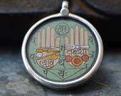 hand painted pendant with a sterling silver round glass protection Vedic sacred hands palmistry Indian Vedic astrological amulet necklace