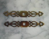 Pair of Vintage Tudor Style Dresser Drawer Furniture Pull Backplate Only 4 7/8  Inches Restoration Hardware Salvage