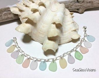 Sea Glass Bracelet, Sterling Silver, Beach Glass Bracelet, Jewelry Quality Pastel Glass, Blue, Yellow, Pink, Lavender, 7.5  Inch Bracelet