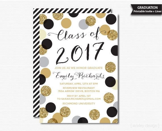 Printable Graduation Invitation Black Gold Polka Dots