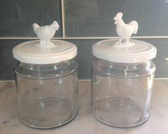 Recycled Glass Jar - Rooster and Hen in White
