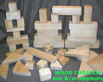 Wooden Blocks for Kids (40 piece set)  -  Natural, Unpainted Blocks
