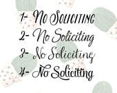 No Soliciting Vinyl Sign- Four Fonts to choose from. Front Door Saying Vinyl Decal- Sticker Decor