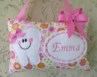 Tooth Fariy Pillow Personalized Pink Orange Floral Stocking Stuffer Party Favor