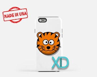 Cartoon Tiger iPhone Case, Animal iPhone Case, Tiger iPhone 8 Case, iPhone 6s Case, iPhone 7 Case, Phone Case, iPhone X Case, SE Case