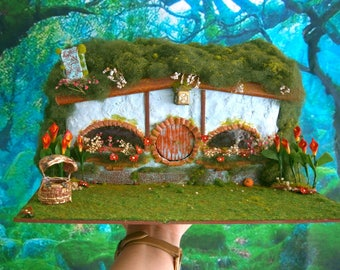hobbit house diorama, hobbiton ooak, fantasy house fairy garden hobbit hole sale july