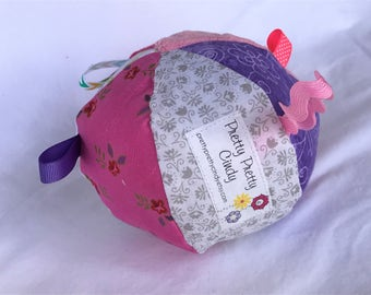 Jingle Fabric Tag Ball Baby Crib Toy Girl Pink Purple