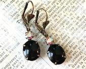 Vintage Rhinestone Earrings | Black Aurora Borealis