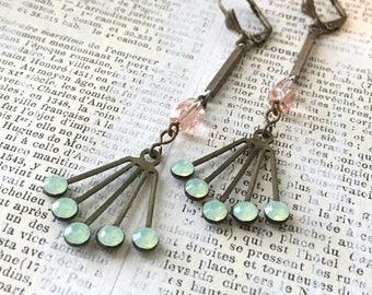 Long Vintage Rhinestone Earrings - Light Green Opal Swarovski and Vintage Rosary Pink