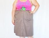 CLEARANCE - FINAL SALE - Plus Size - Vintage Khaki Button Front A-Line Skirt (Size 12/14)