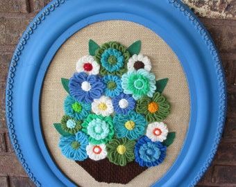 Vintage Handmade Crochet Wall Hanging Picture Colorful Flower Bouquet Folk Art