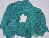 Extra Long Scarf Indian Sari Scarf Green Scarf Teal Green Scarf