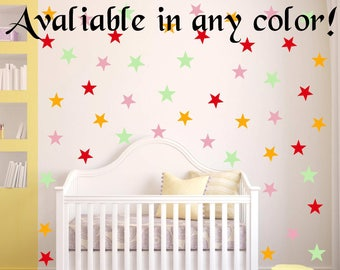 "40 Colors! 48 Peel and Stick 2"" Stars Wall Decals For Kids Rooms, Nursery Decor, Bedrooms, peel and stick dots"