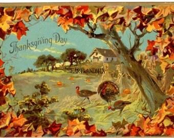 Antique Vintage Thanksgiving Turkey Digital download printable wall art image