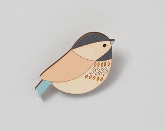 Wooden Bird Brooch - Bird Brooch - Coaltit - Mother's Day Gift