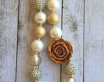 Gold and Cream Rosette chunky beaded necklace