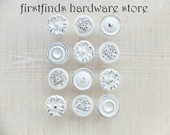 12 Mini Knobs Kitchen Cabinet Pulls Shabby Chic White Painted Cottage Dresser Drawer Misfit Hardware Drawer Cupboard ITEM DETAILS BELOW