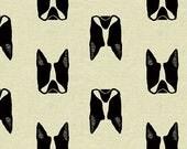 Captain by Sarah Golden for Andover Fabrics Maker Maker Boston Terrier Dog - Linen Cotton Canvas Quilt Fabric - Natural Linen Cotton Blend